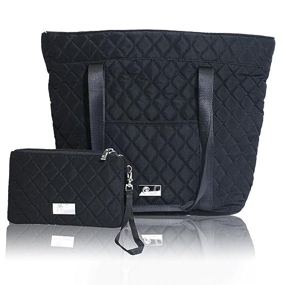 Amazon.com: Pursetti Black Quilted Tote Bag for Women w/ Bonus ... : quilted black tote bag - Adamdwight.com