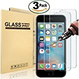 "[3 Pack] iPhone 8, 7, 6S, 6 Screen Protector, MaxTeck 0.26mm Tempered Shatterproof Glass Screen Protector Anti-Shatter Film for iPhone 8, 7, 6S, 6 4.7""inch [3D Touch Compatible]"
