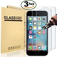 """[3 Pack] iPhone 8, 7, 6S, 6 Screen Protector, XJTeck 0.26mm Tempered Shatterproof Glass Screen Protector Anti-Shatter Film for iPhone 8, 7, 6S, 6 4.7"""" inch [3D Touch Compatible]"""
