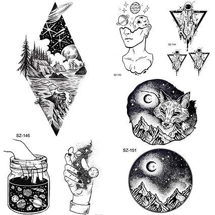 Diamante Madera Montaña Negro Fox Tatuaje Temporal Hombres ...