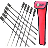 Cave Tools BBQ Skewers Set (10) - Extra Long 17.3 INCH SHISH Kabob - Flat Stainless Steel Wide Metal Barbecue Cooking…