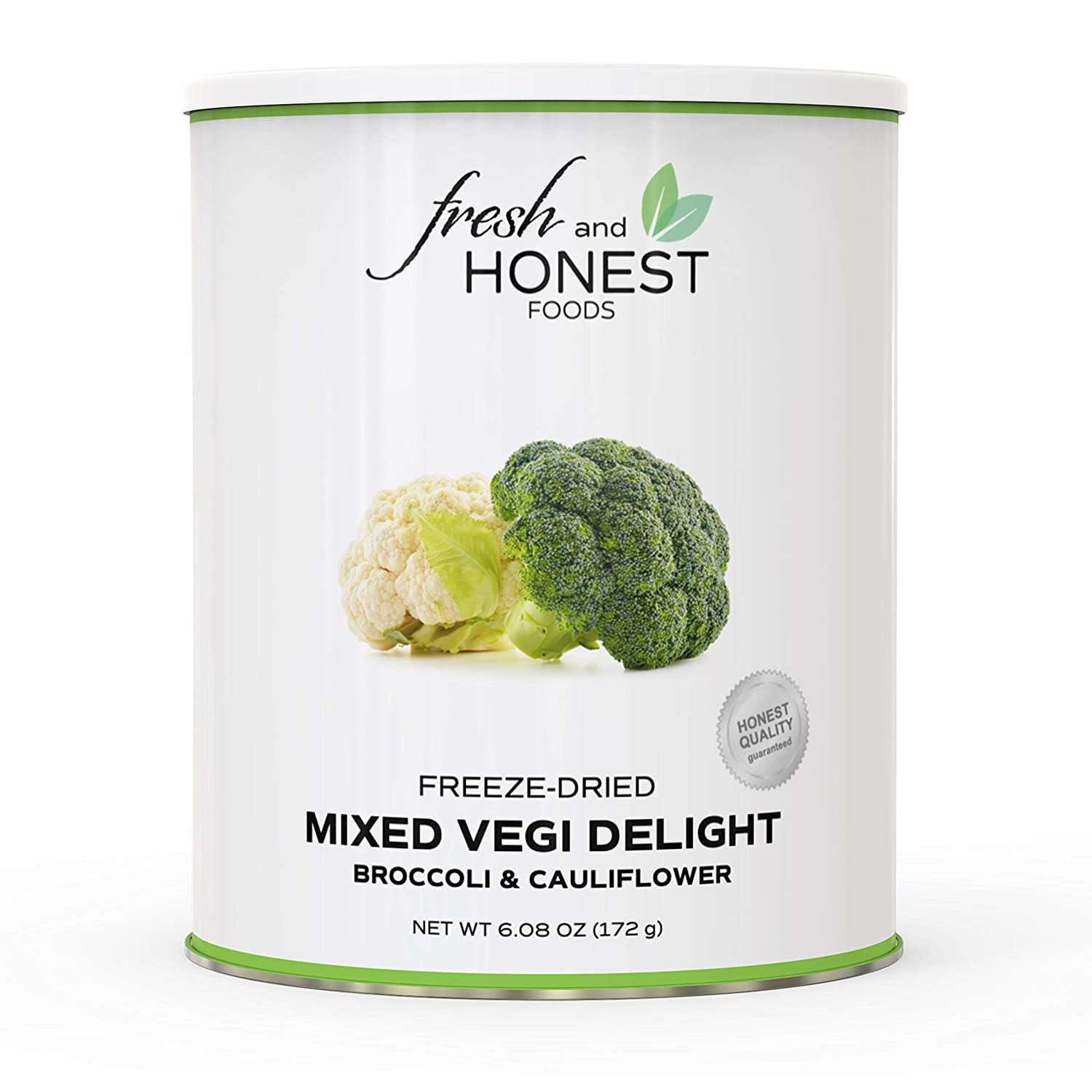 Fresh and Honest Foods Freeze Dried Mixed Vegetables 100% All Natural (Broccoli & Cauliflower) 6.0 OZ #10 Can, 25+ Year Shelf Life. Perfect for Emergencies, Food Storage, Survival, Camping, and more.