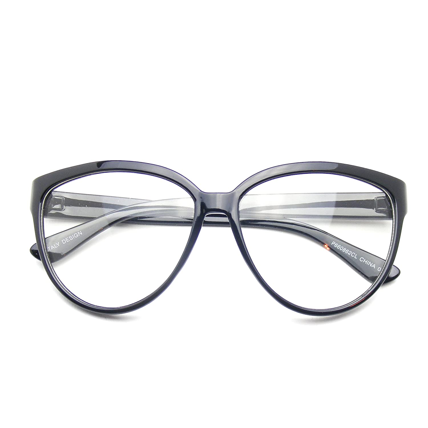4a2d0405b21 Amazon.com  Womens Oversize Retro Nerd Clear Lens Fashion Cat Eye Geek  Glasses (Black)  Clothing