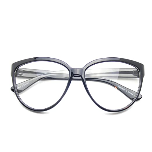 f7e3ec88f6 Amazon.com: Womens Oversize Retro Nerd Clear Lens Fashion Cat Eye Geek  Glasses (Black): Clothing