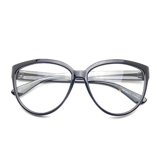 7af9a4a487 Womens Oversize Retro Nerd Clear Lens Fashion Cat Eye Geek Glasses (Black)