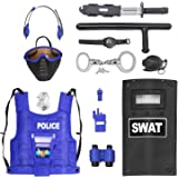 Police Force Role Play Set for Kids with Mask Combat Vest Riot Shield Badge Handcuffs Grenade Club & Knife