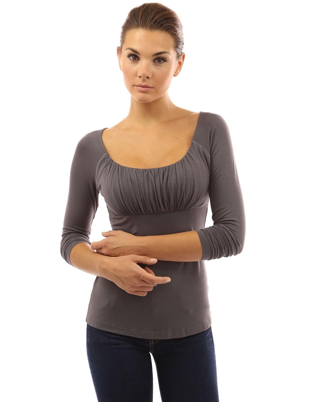 PattyBoutik Women's Scoop Neck Ruched Raglan Long Sleeve Top