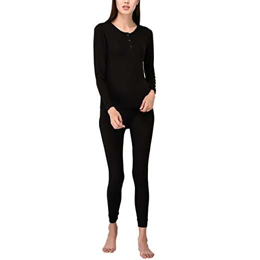 02a45caa3 Women's Soft Comfy 2 Pc Thermal Underwear Sets Base Layer Thermals (S,  Black)
