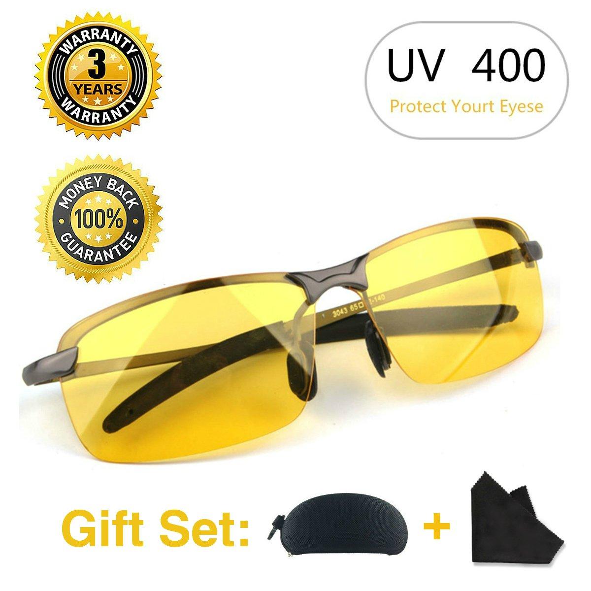 Gafas Nocturna | Gafas de sol - Para la pesca/Conducción nocturna/Reducción de riesgos | Antideslumbrantes/Protección UV400 de Ojos/HD Vision ...