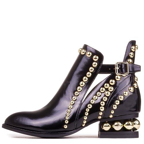73287963d9e Jeffrey Campbell Rylance - Black Box Leather Goldtone Studded Bootie -  Size  9