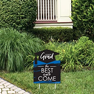 product image for Big Dot of Happiness Blue Grad - Best is Yet to Come - Outdoor Lawn Sign - Royal Blue Graduation Party Yard Sign - 1 Piece