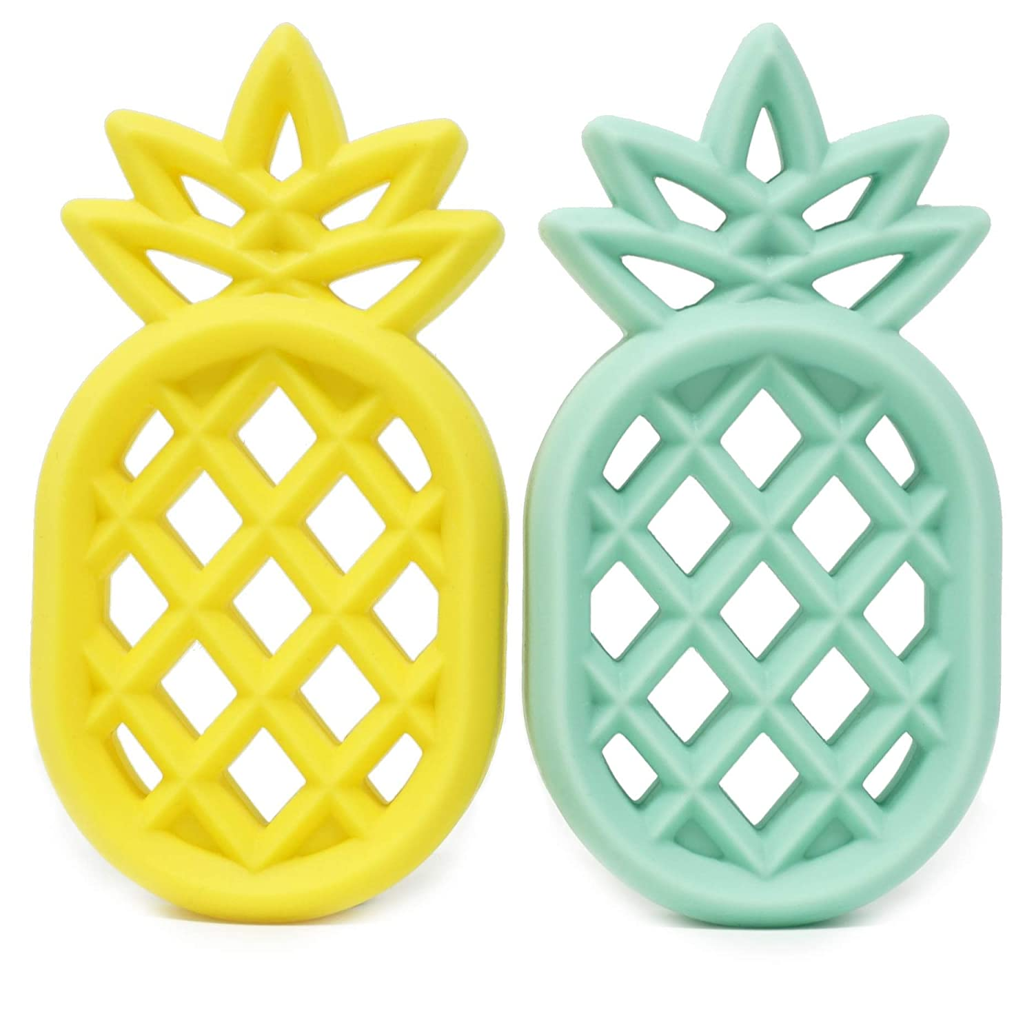 Meerkatto Silicone Pineapple Teether (Yellow and Mint)