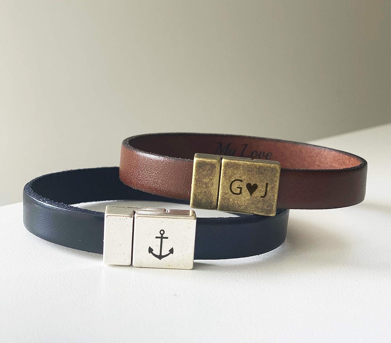 Leather bracelet for mens Bracelet for mens- Hand stamped Secret message gift Anniversary gift Husband gift Mens leather bracelet