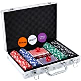 Homwom Casino Poker Chip Set - 200PCS/300PCS Poker Chips with Aluminum Case, 11.5 Gram Chips for Texas Holdem Blackjack…