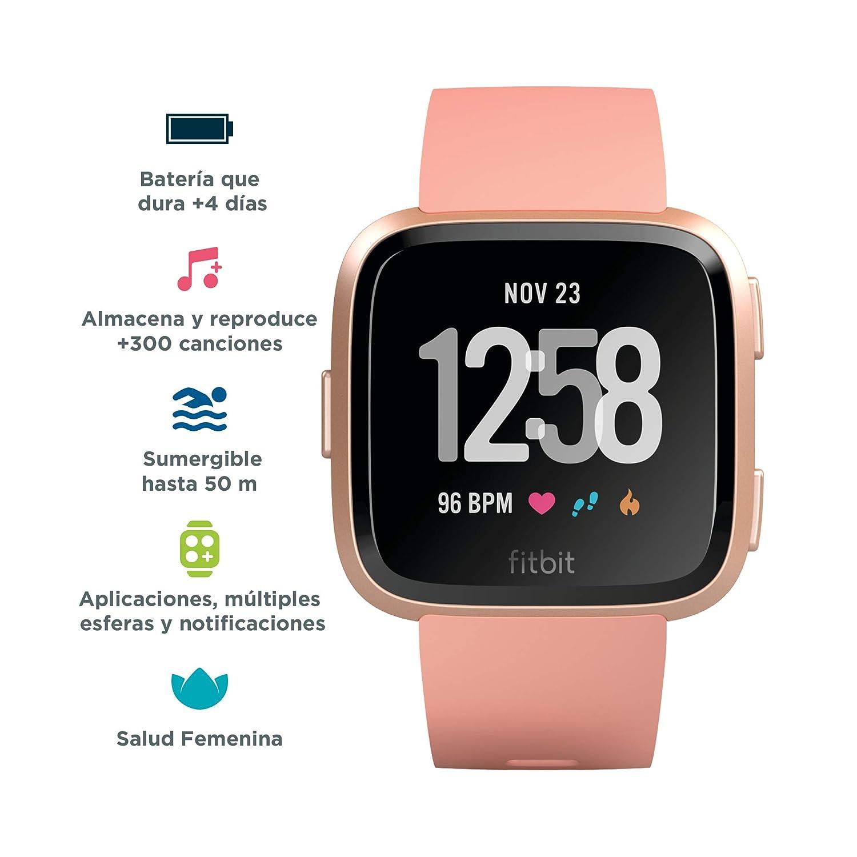 Fitbit Versa - Reloj Deportivo Smartwatch Deportivo, Unisex Adulto, Beige/Melocotón, Talla Única