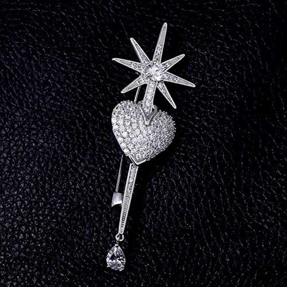 Love Eight Star Crystal Brooch Anti-Going Silk Scarf Buckle Coat Western Ornament Badge Gift