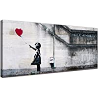 Large Canvas Prints of Banksy's Girl with the Red Balloon for your Dining Room - Graffiti Wall Art - 1050 - Wallfillers® by Wallfillers
