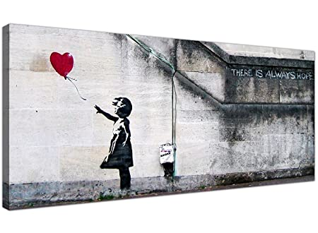 Wallfillers Large Canvas Prints Of Banksys Girl With The Red Balloon For Your Dining Room