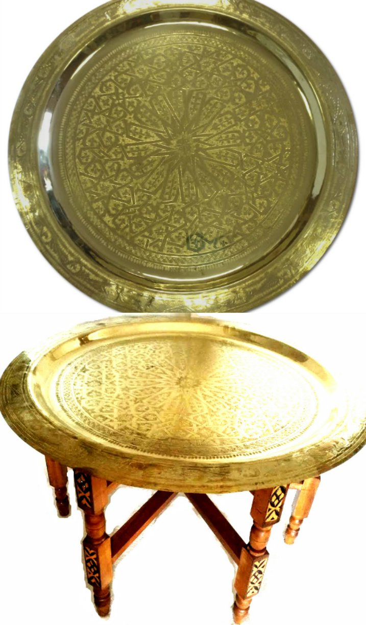 """Moroccan Arabesque Engraved Carved Polished Brass Tray Top Folding Table 31"""" ø"""