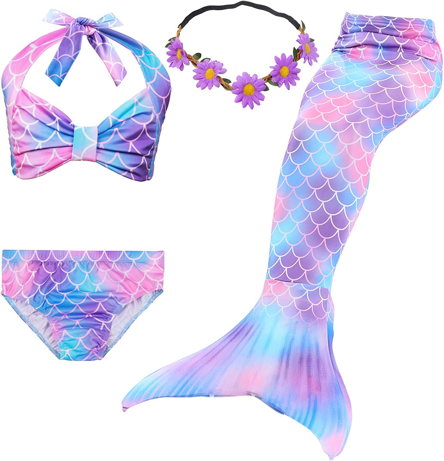 Girls 4 Pcs Swimsuit Mermaid Tails for Swimming Princess Mermaid Costume Bikini Set for 3-12Y