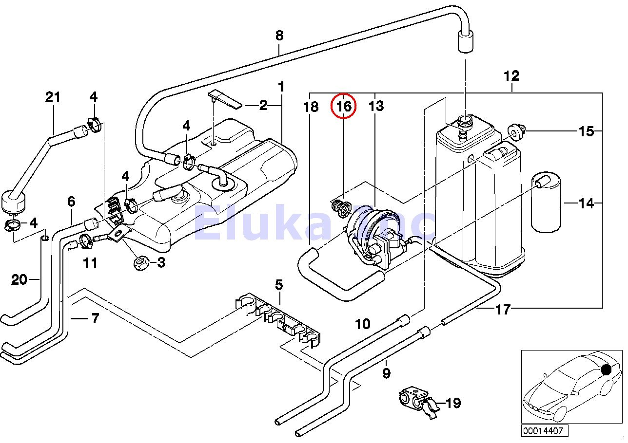 Bmw Genuine Grommet Fuel Vapor Detection Pump To 3 1 Engine Diagram Activated Charcoal Filter 740i 740il 740ilp 750il 750ilp 525i 528i 530i 540i 540ip M5 320i