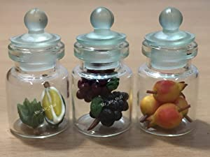 3pc Miniature Fruit Vegetable Food Grap Peach Dollhouse Fruit in Clear Glass Mini Bottle fruit Food #MF033