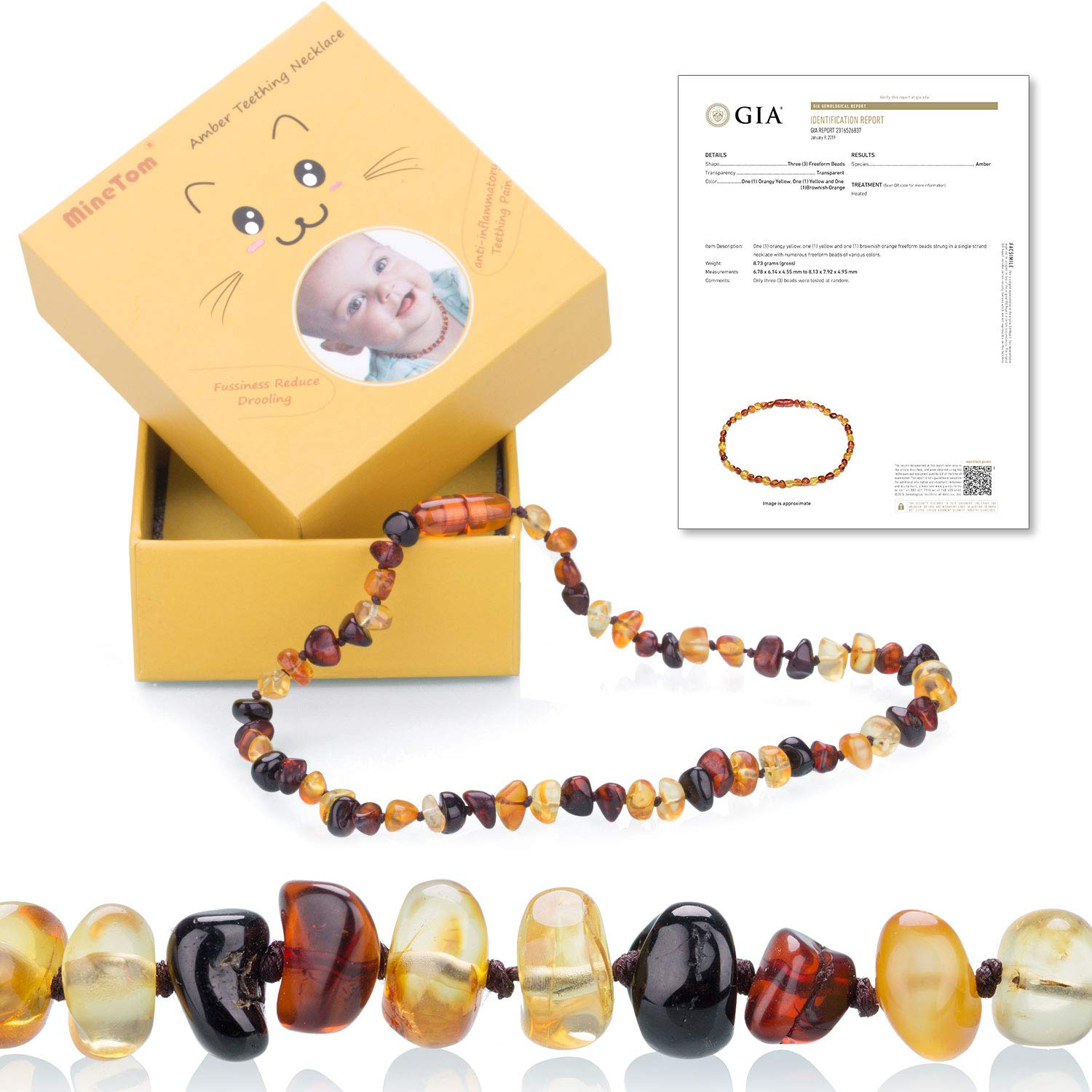 Minetom Baltic Amber Teething Necklace for Baby,Anti Inflammatory, Drooling and Natural Teething Pain Relief,GIA Certified 100% Pure Baltic Amber Unisex Baby Necklace,Cherry-Honey