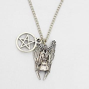 Pentagram collar de plata, oración Ángel collar, colgante de ...