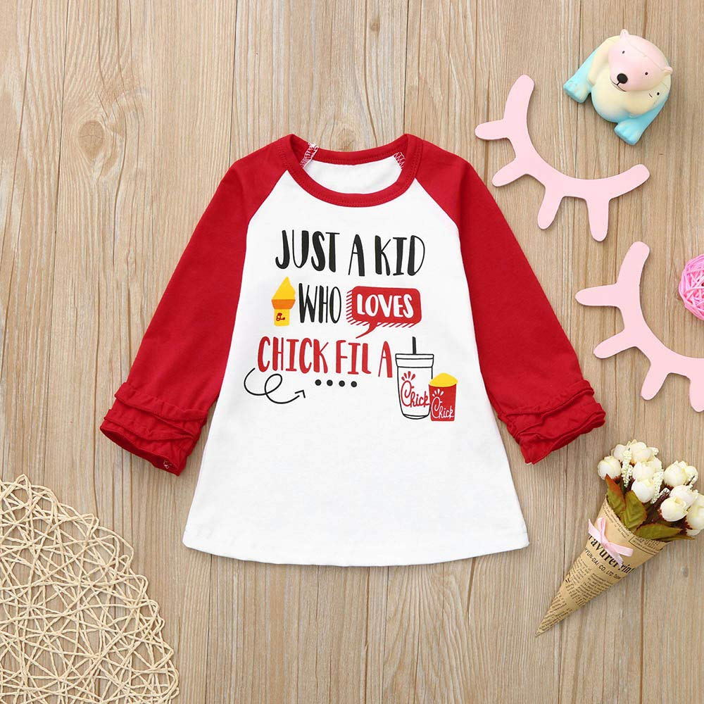 Baby Kids Girl Boy 6 Months-4T Letter Ruffle Santa Claus T-Shirt Tee Tops Christmas Clothes Outfit