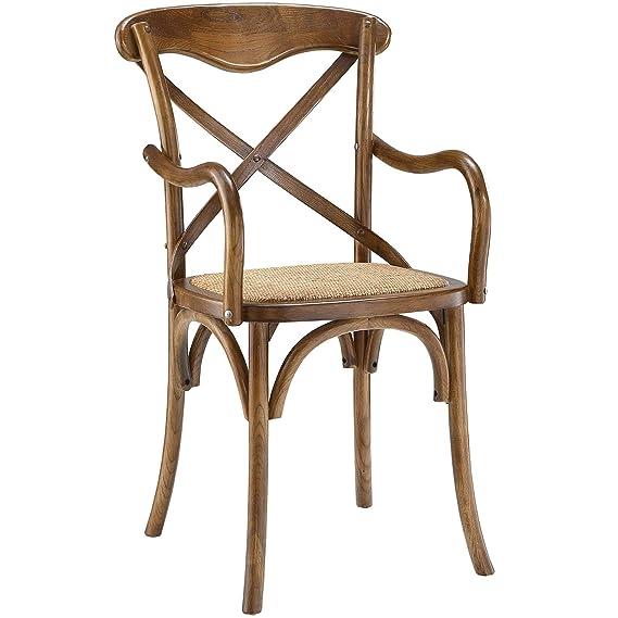Modway - Juego de 4 sillones de Comedor (ratán, Nogal ...