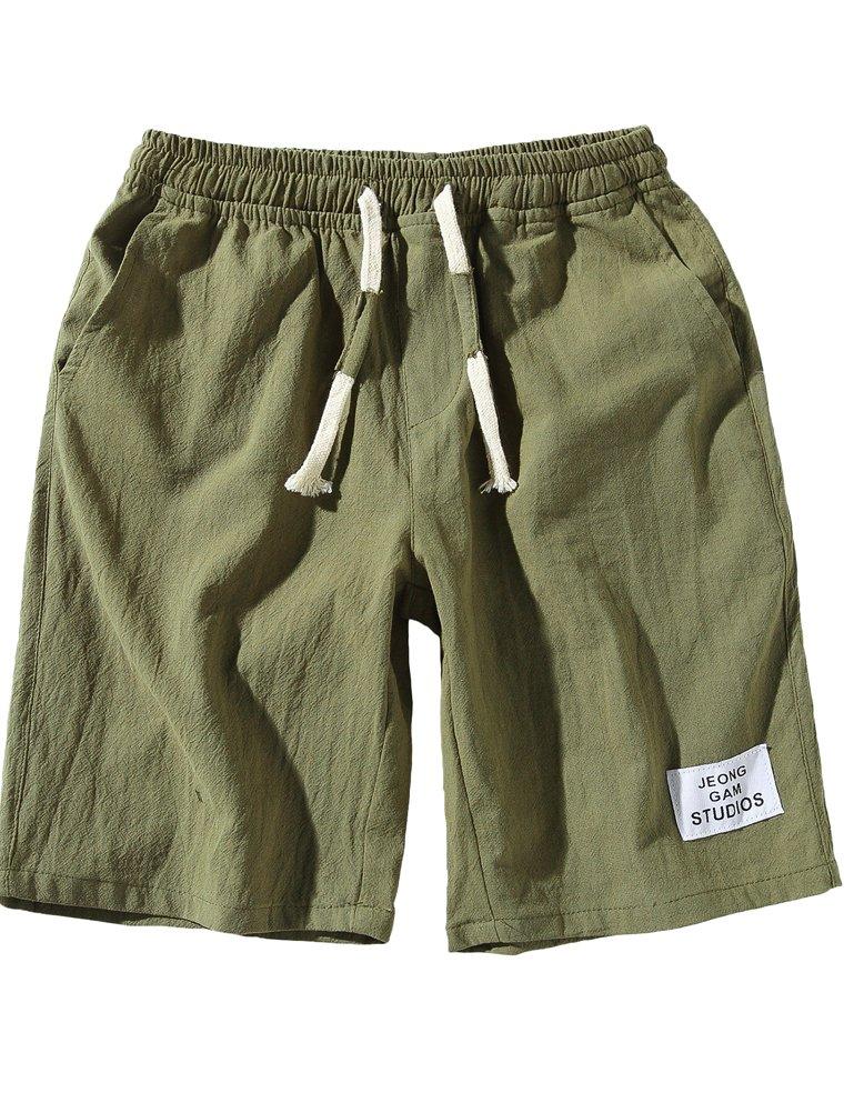 Lavnis Men's Casual Linen Shorts Classic Fit Boardshorts Summer Beach Shorts M