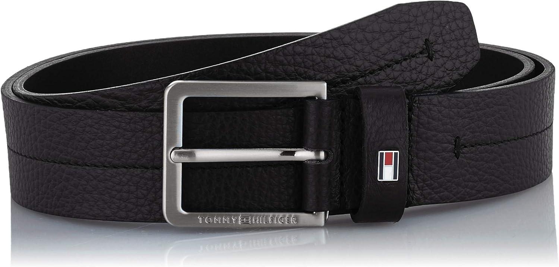 110 Uomo Nero Tommy Hilfiger Modern Pebble Leather Belt 3.5 Cintura