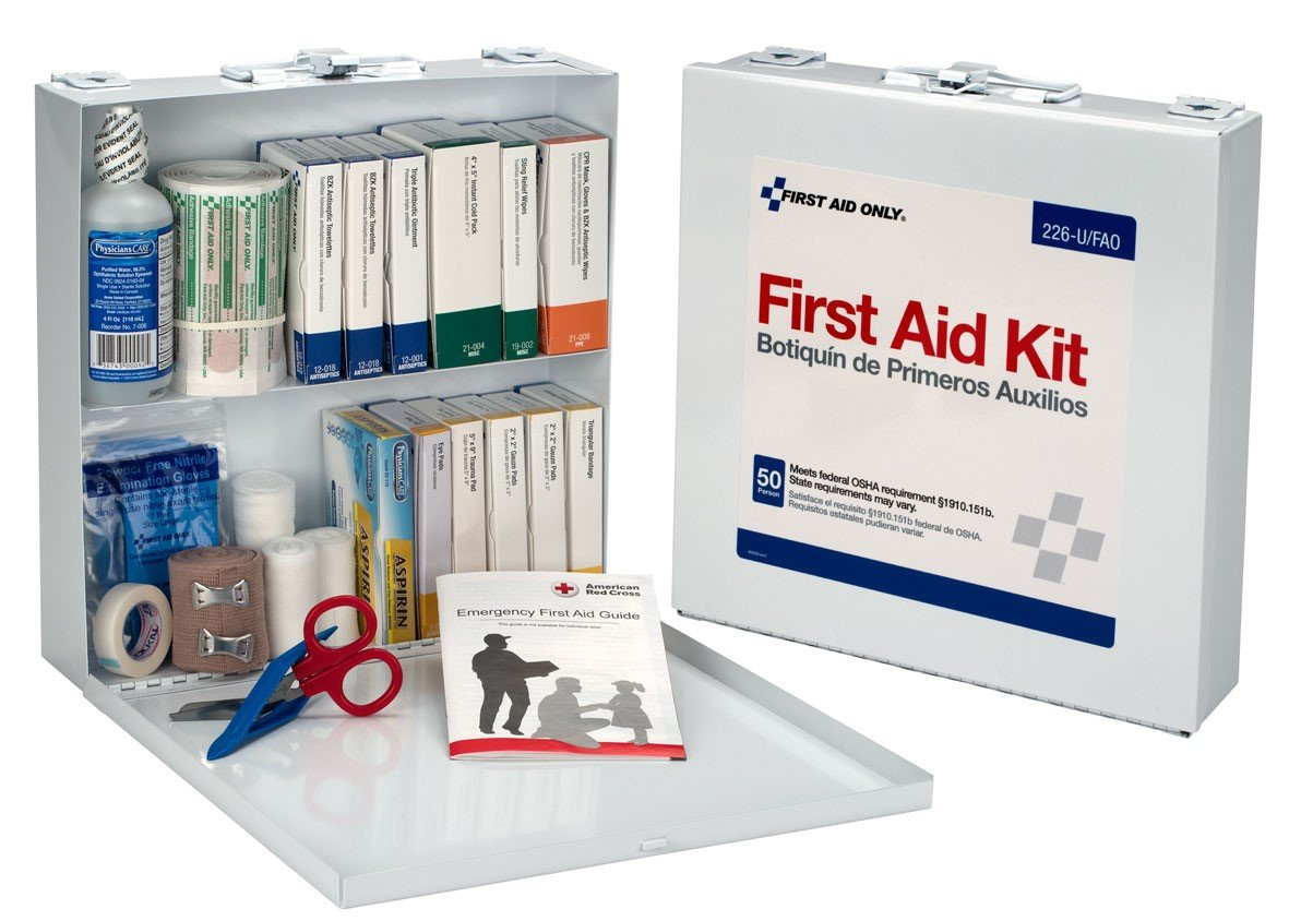 First Aid Only 50 Person First Aid Kit, Metal Case, 197 Pieces by First Aid Only