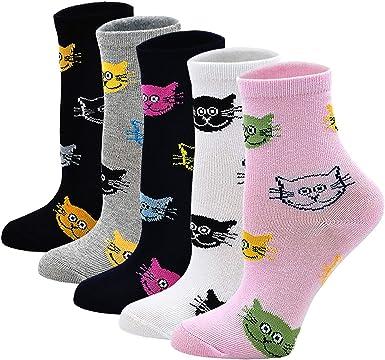5 pares LOFIR Calcetines Divertidos de Algod/ón para Ni/ños Calcetines Animales con Dibujos Calcetines Deportivos para Chicos Talla 19-22//23-29//31-34