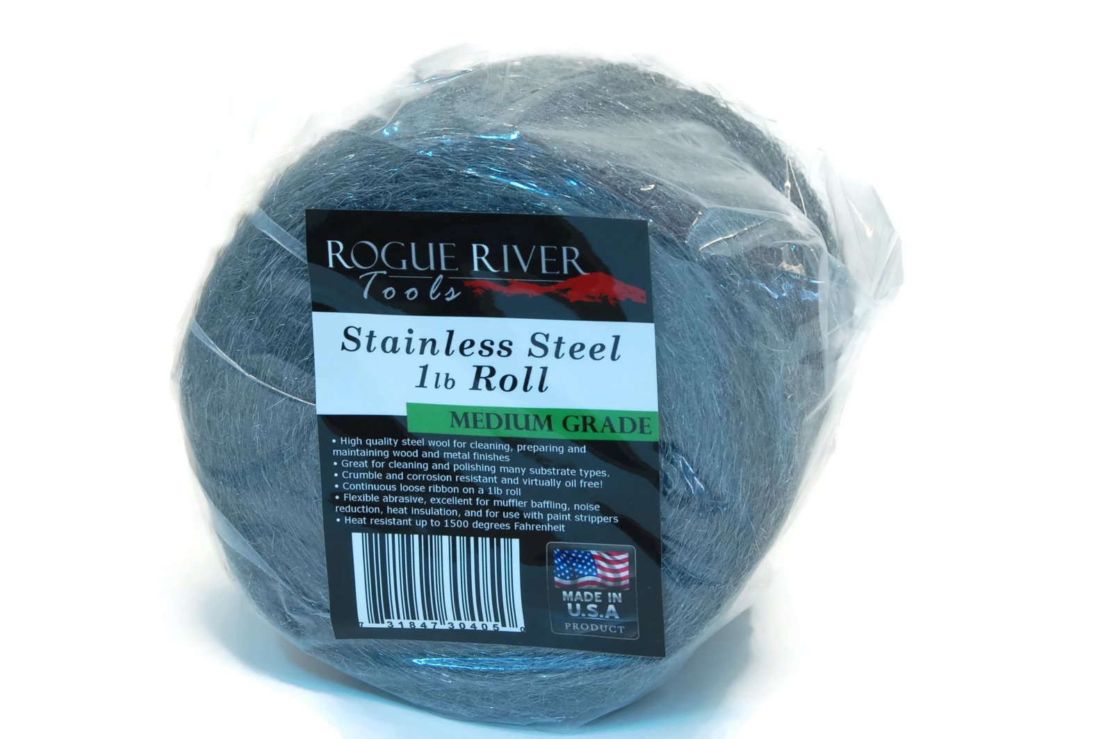 Rogue River Tools Stainless Steel Wool 1lb Roll (Medium Grade) - Made in USA! by Rogue River Tools