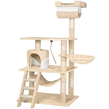 TecTake Rascador Árbol para gatos 86x49x141cm - disponible en diferentes colores - (beige blanco | no. 402280): Amazon.es: Hogar