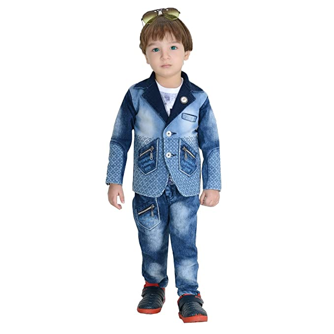 fcb7d4ec0 Dotson Party Wear Boys Suit Set of Full Sleeves Denim Jacket