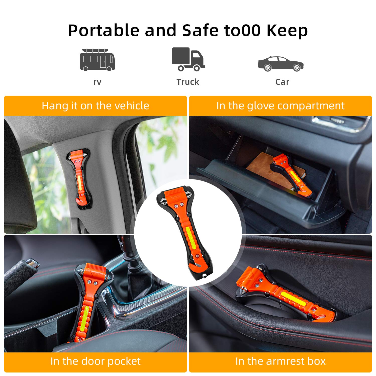 Life Saving Survival Kit Emergency Escape Tool Safety Hammer Nomiou Window Breaker and Seat Belt Cutter
