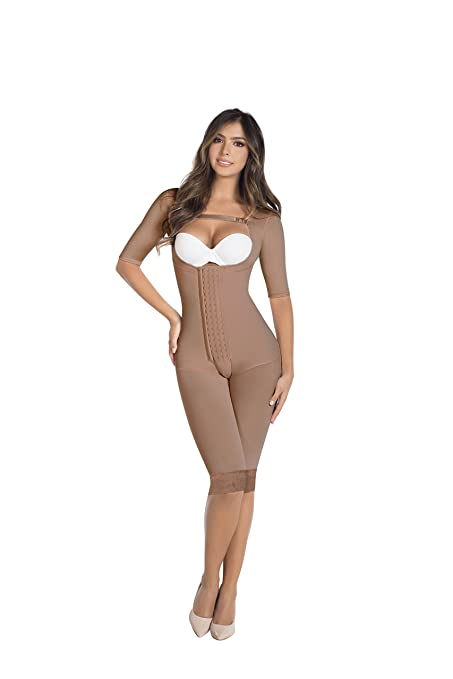 d3866d35490f2 4 Hooks Long Leg Colombian Braless Shapewear Post Surgery Compression  Garment Girdle With Sleeves Ref 5084