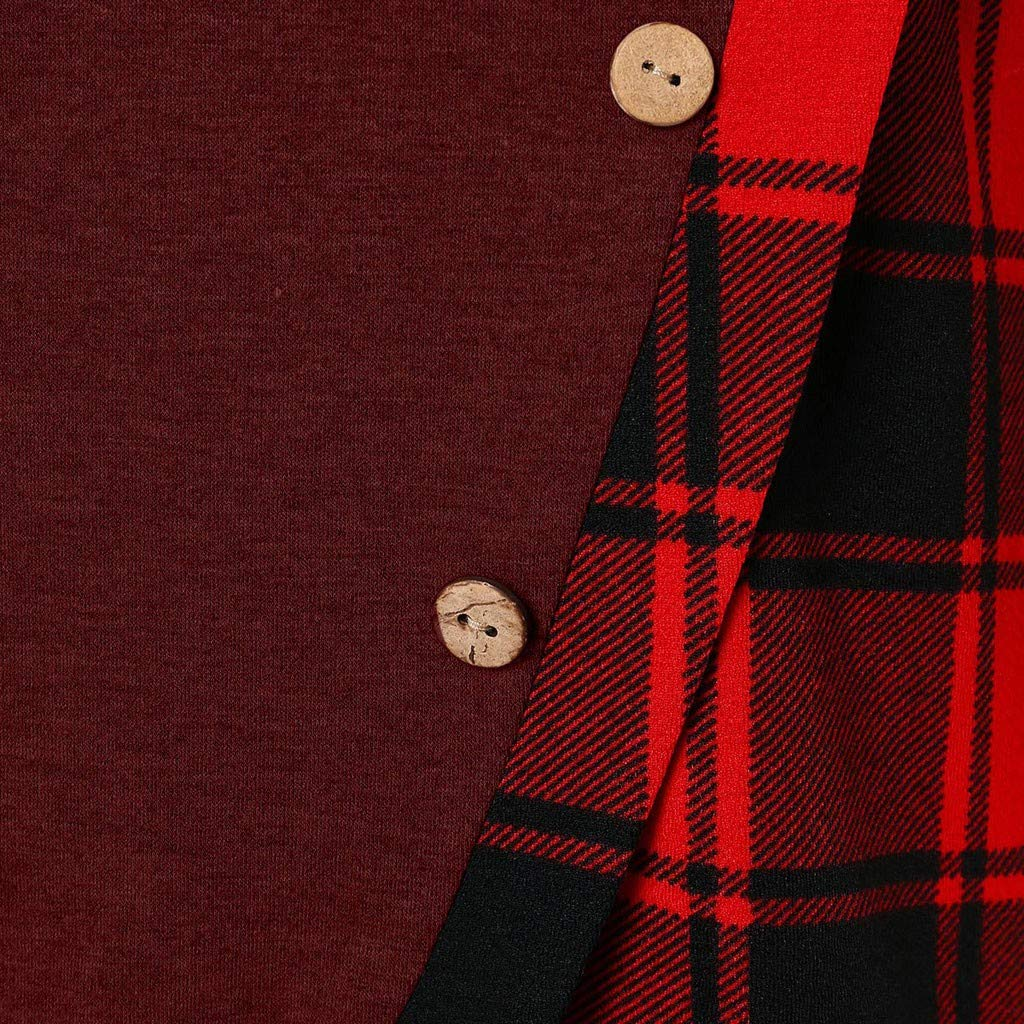 Laimeng/_World 2018 Women Long Sleeve Plaid Pullover Turtleneck Tartan Tunic Sweatshirt Tops