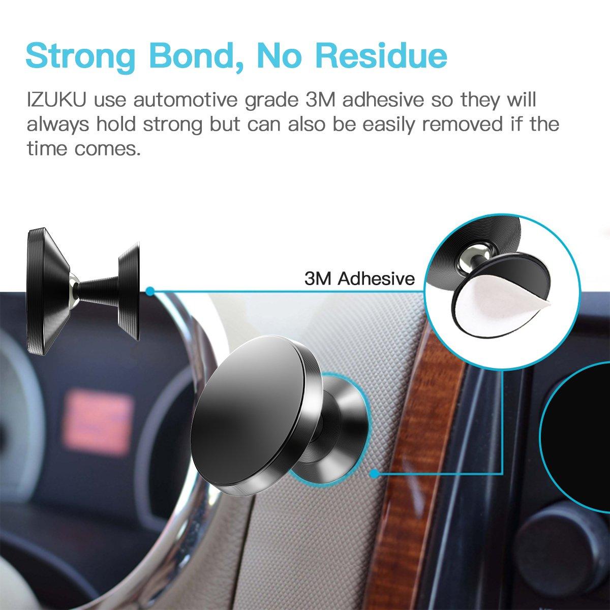 IZUKU Soporte Magnético Universal 360° Rotación, Imán Sostenedor de Móvil para Coche y Todo Tipo de Superficies Planas, Válido para iPhone x/8/7/6 ...