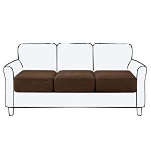 Subrtex Spandex Seperated Couch Cushion Covers Stretch Chair Loveseat Slipcover Furniture Protector Slip Covers for Settee Sofa Seat Cushion in Home Living Room (3 Piece, Sofa Cushion, Chocolate)