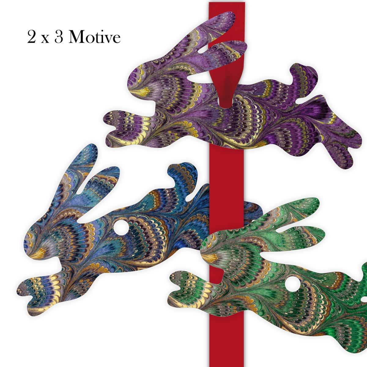 Kartenkaufrausch 60 60 60 zauberhafte Geschenkanhänger | 10 Pkg à 6 Stk Geschenkkärtchen | Girlanden Anhänger mit Marmor Muster - in Hasen Form 11,5 x 7cm 84c333