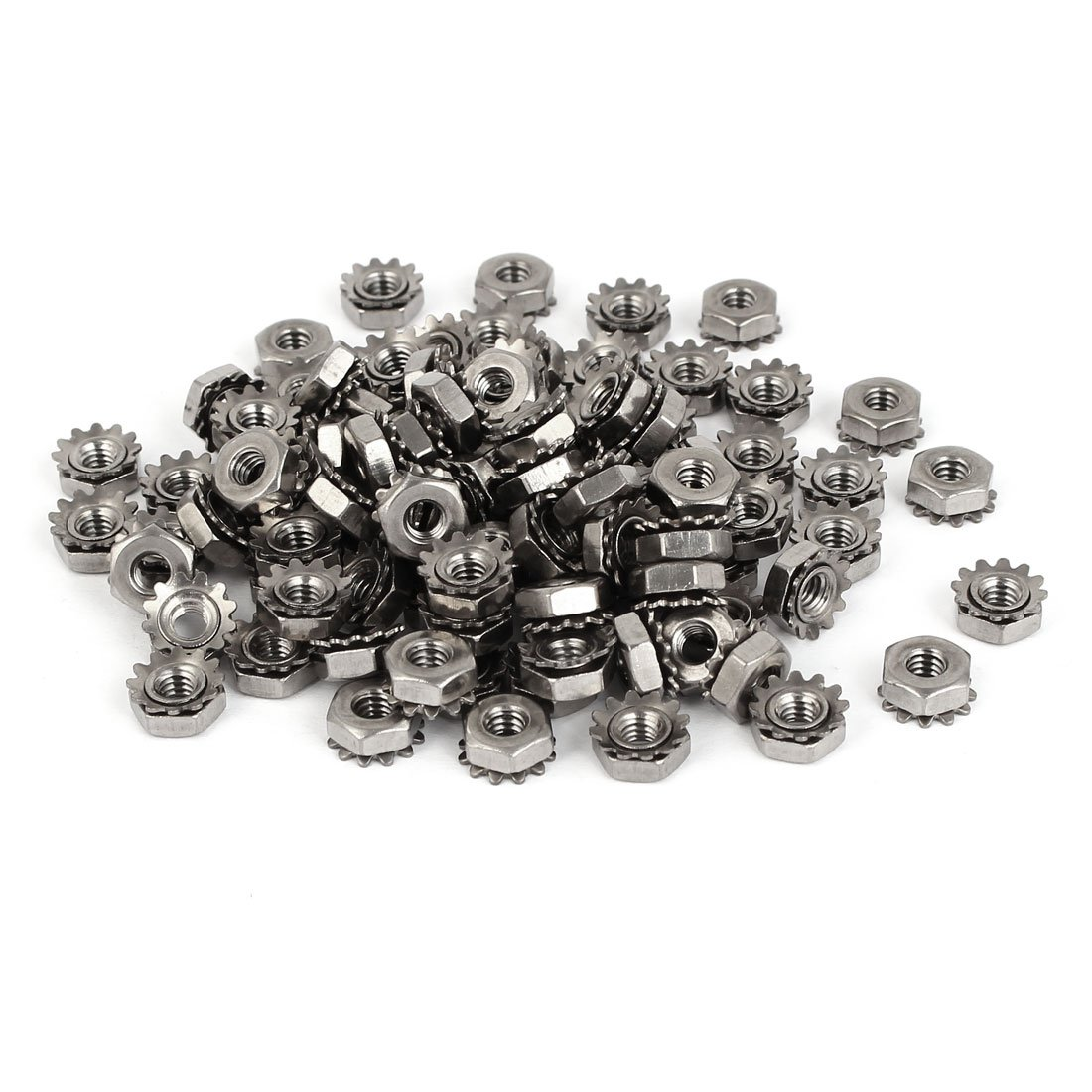 uxcell 8#-32 304 Stainless Steel Female Thread Kep Hex Head Lock Nut 100pcs