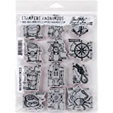 Stampers Anonymous Tim Holtz Cling Rubber Mini Blueprints No.9 Stamp Set, 7 x 8.5""