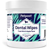 Petpost   Dental Wipes for Dogs - Bad Breath, Plaque and Tooth Decay Gone - 100 Presoaked Pads in Natural Tooth Cleaning Solu