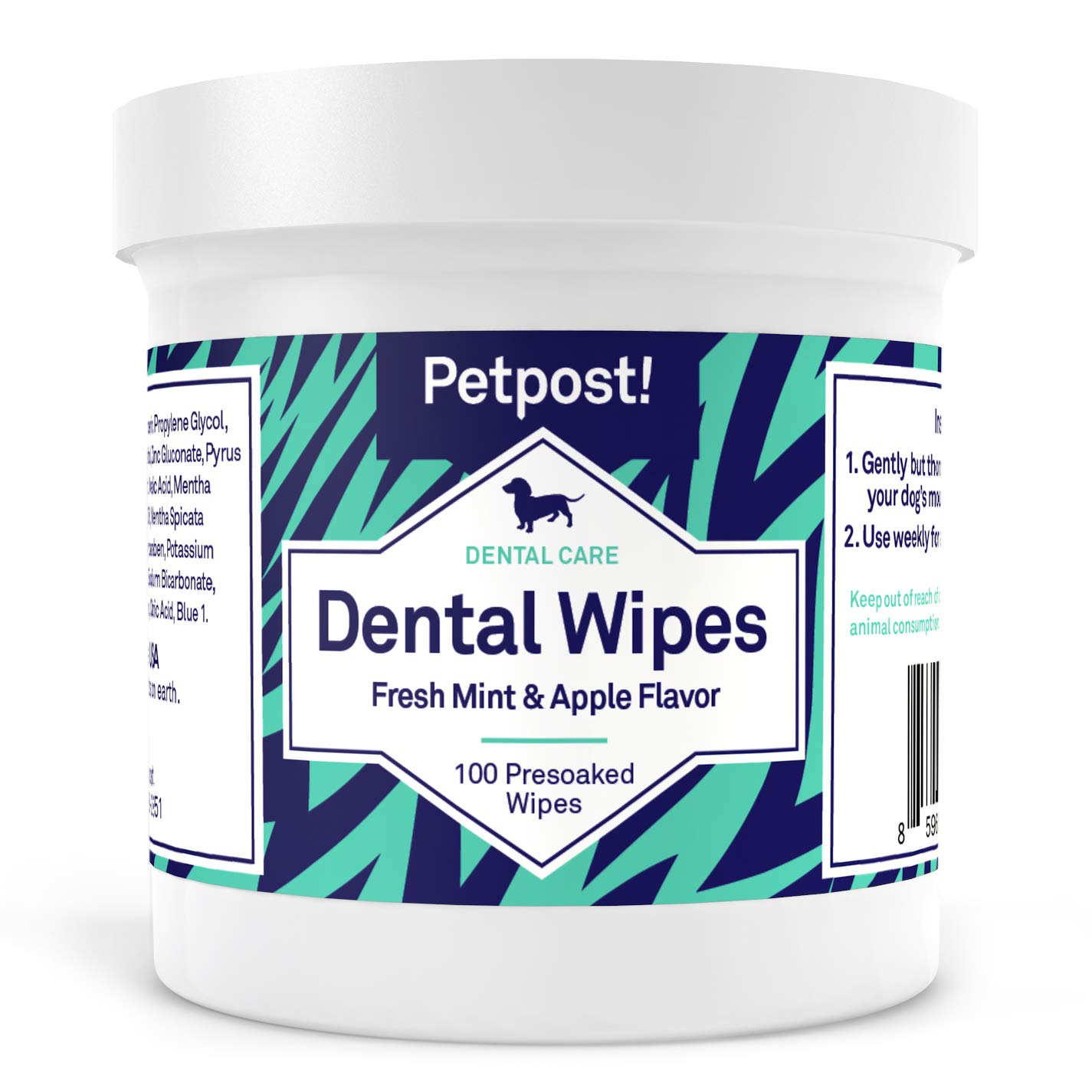 Petpost | Dental Wipes for Dogs - Bad Breath, Plaque and Tooth Decay Gone - 100 Presoaked Pads in Natural Tooth Cleaning Solution by Petpost