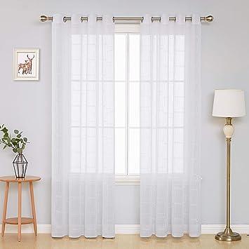 Deconovo Stickerei Ösenvorhang Transparent Gardinen Wohnzimmer Vorhang  240x140 cm Weiß 2er Set