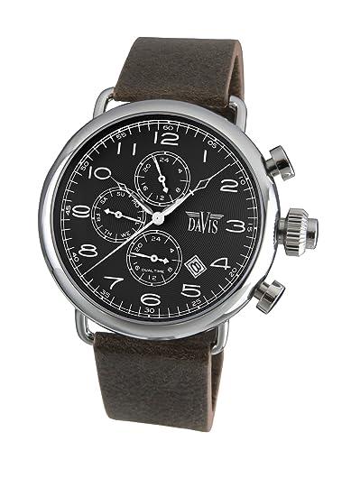 Davis 1930 - Reloj retro piloto para hombre, esfera negra, día y fecha, hora dual, correa de piel, color marrón: Amazon.es: Relojes