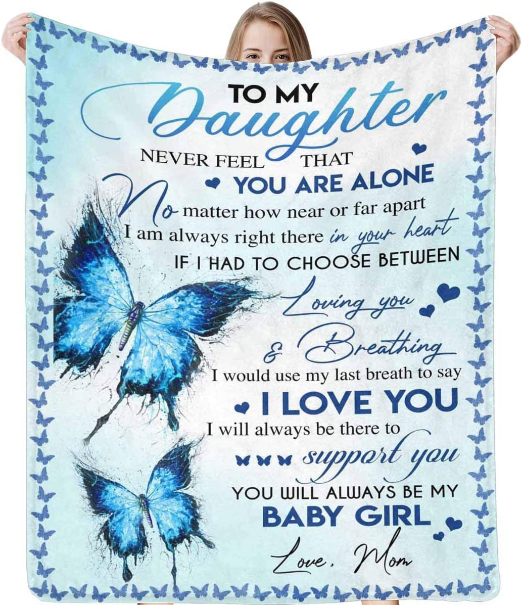Blue Butterfly To My Daughter Gift From Mom Love Sherpa Fleece Throw Blanket